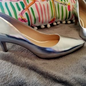 Banana Republic Metallic Silver Pointed Toe Heels